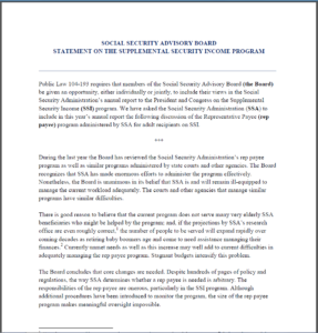 Social Security Advisory Board Statement on the Supplemental Security Income Program Document Introductory Page