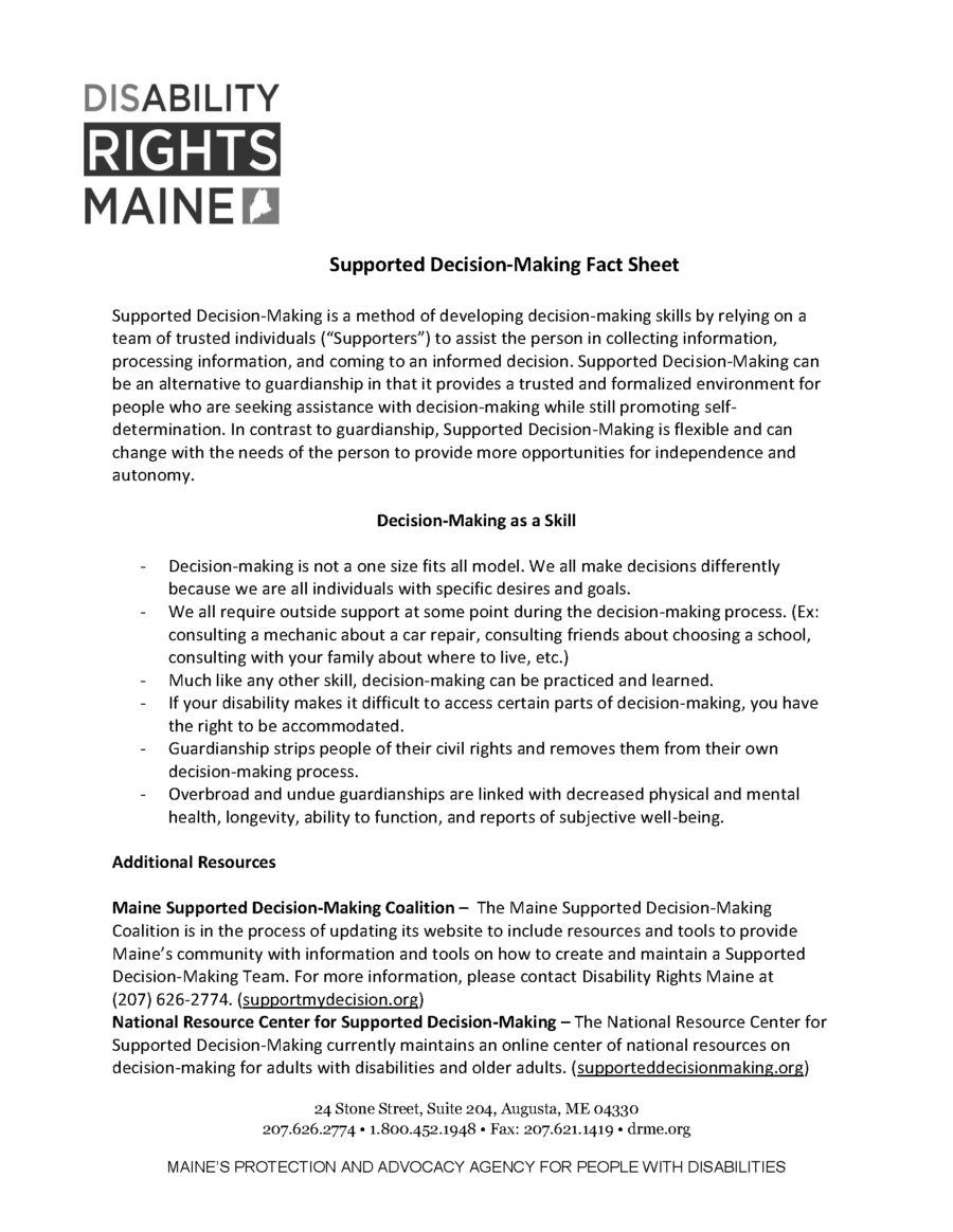 Disability Rights Maine, SDM Factsheet